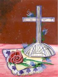 Art: Cross Rose by Artist Marcia Ruby