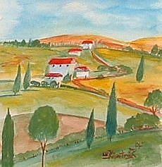 Art: Tuscan  Hills Landscape by Artist Virginia Kilpatrick