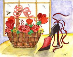 Art: Valentine Basket and Shoe by Artist Marcia Ruby