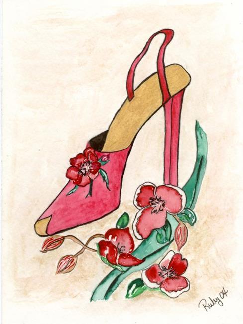 Art: Red Flower shoe by Artist Marcia Ruby
