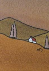 Art: ACEO Brown Fields No2 by Artist Martin Devine