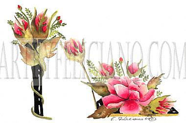 Art: Red Rosebud stiletto #1 by Artist Elena Feliciano