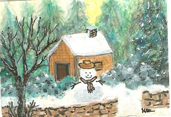 Art: Snowman by Artist Nata Romeo ArtistaDonna