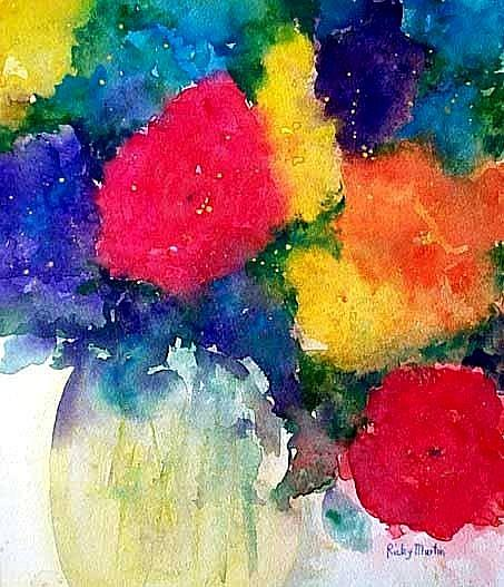 Art: Abstract  Rose Bouquet by Artist Ulrike 'Ricky' Martin