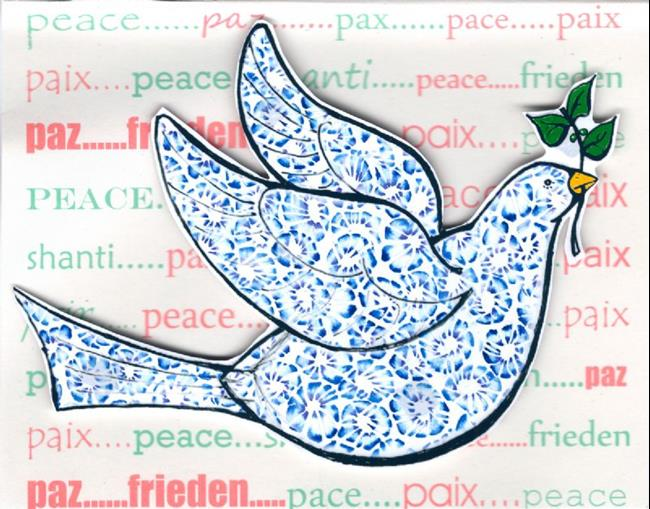 Art: Christmas Card Peace Dove by Artist Ann Murray