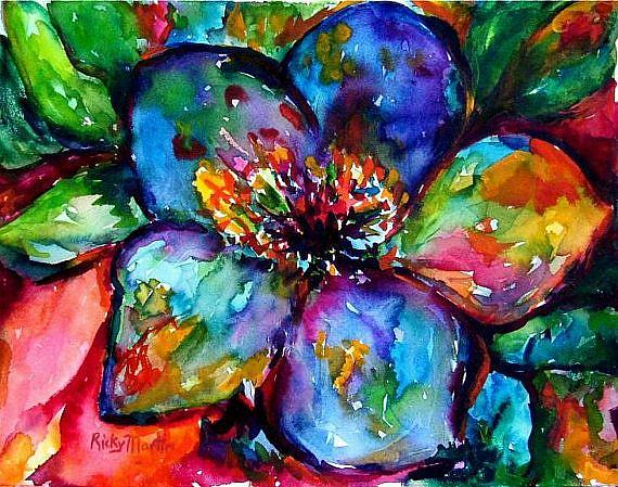Vibrant abstract flower sold by ulrike 39 ricky 39 martin from for Abstract art flowers paintings