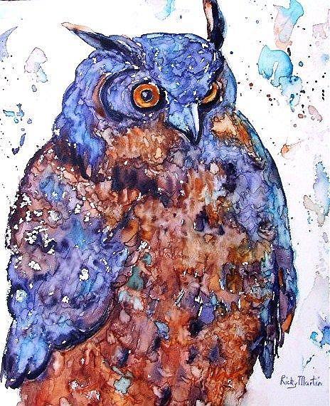 Art: Great Horned Owl by Artist Ulrike 'Ricky' Martin