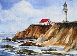 Art: Rocky Coast Lighthouse ACEO - sold by Artist Bonnie Pankhurst