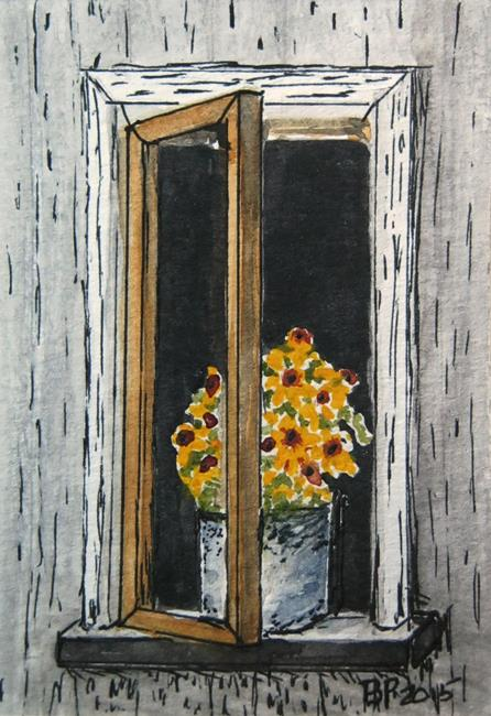 Art: ACEO Daisies in the Window- sold by Artist Bonnie Pankhurst