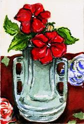 Art: Red Impatiens by Artist Patience