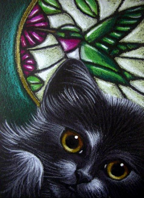 Black Cat Hummingbird Stained Glass Window By Cyra R