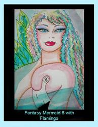 Art: Fantasy Mermaid 6 with Flamingo by Cyra R. Cancel