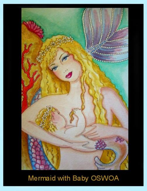 Art: Mermaid and Baby OSWOA (SOLD) by Artist Cyra R. Cancel