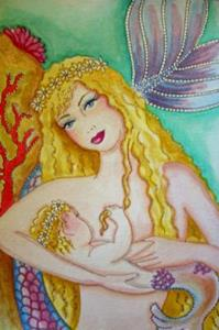 Detail Image for art Mermaid and Baby OSWOA (SOLD)
