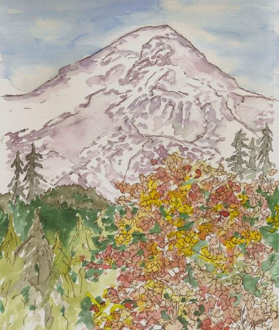 Art: Mt Hood Fall Drive by Artist Deborah Sprague