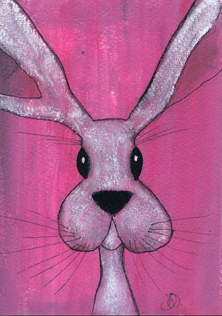 Art: HARE IN PINK h3030 by Artist Dawn Barker