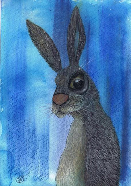 Art: HARE IN BLUE h3039 by Artist Dawn Barker
