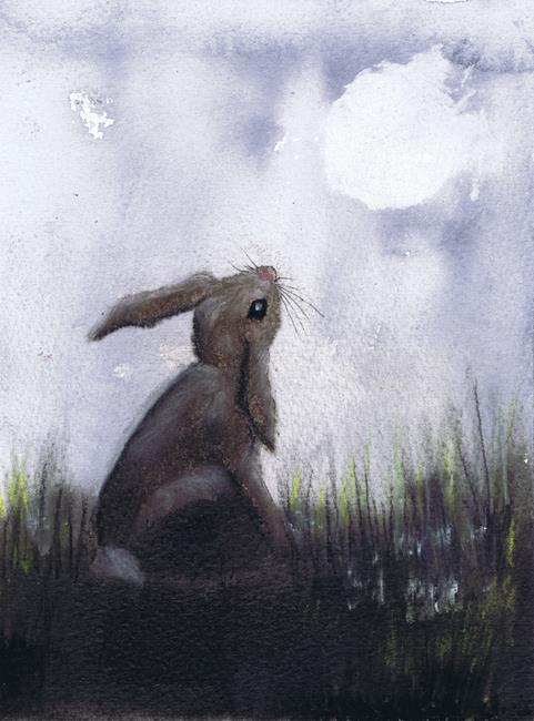 Art: MOONGAZING HARE h3034 by Artist Dawn Barker