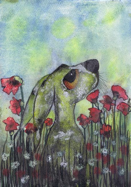 Art: HARE IN FLOWERS h2024 by Artist Dawn Barker