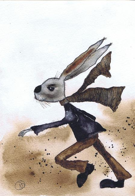 Art: HARE IN A HURRY! h3025 by Artist Dawn Barker