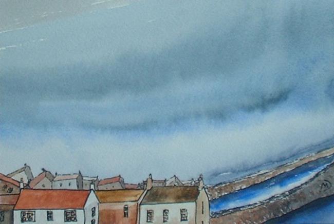 Art: Storm Hits Crail Harbour by Artist Martin Devine