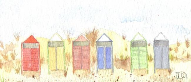 Art: Beach huts by Artist Dawn Barker