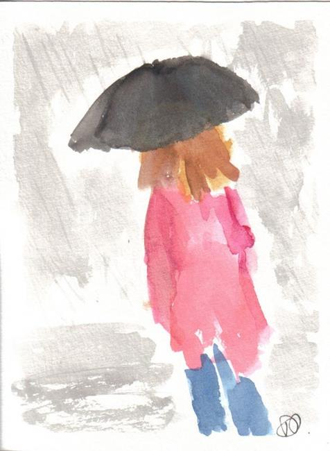 Art: WALKING IN THE RAIN by Artist Dawn Barker