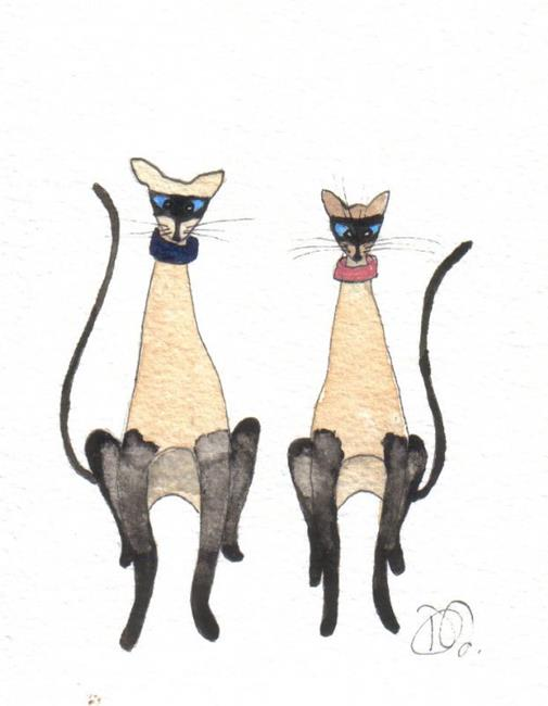 Art: CRAZY SIAMESE by Artist Dawn Barker