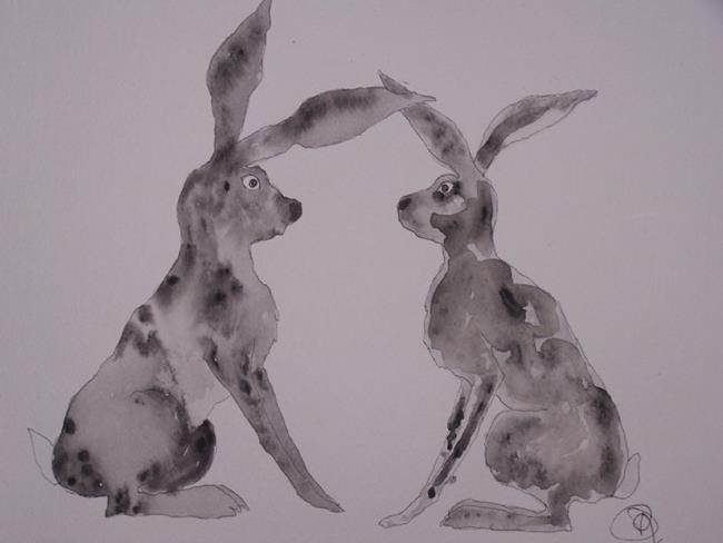 Art: HARES h414 by Artist Dawn Barker