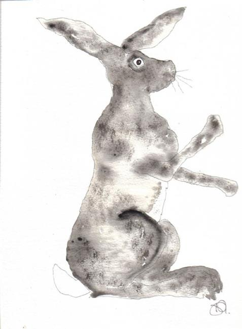 Art: BOXING HARE h426 by Artist Dawn Barker