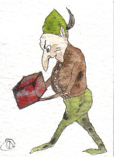 Art: Goblin stealing box of promises by Artist Dawn Barker