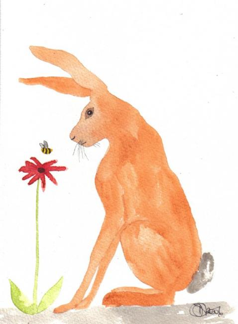 Art: HARE and BEE by Artist Dawn Barker