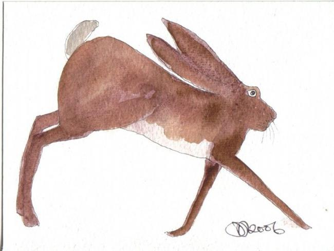 Art: LEAPING HARE by Artist Dawn Barker