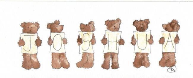 Art: PERSONALISED NAME teddies by Artist Dawn Barker