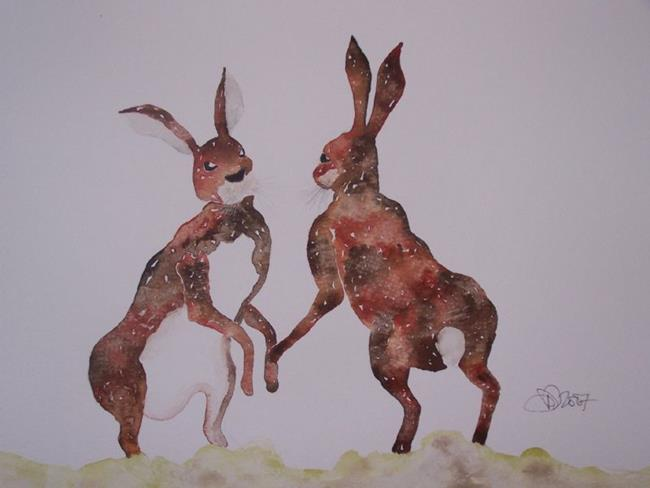 Art: BOXING HARES h579 by Artist Dawn Barker