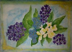 Art: LILACS AND APPLE BLOSSOM WITH CEANOTHUS by Artist Julie Jules