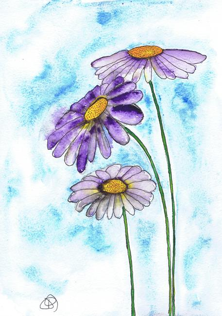 Art: PURPLE DAISIES f113 by Artist Dawn Barker
