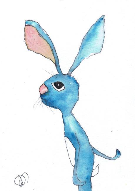 Art: BLUE HARE h3037 by Artist Dawn Barker