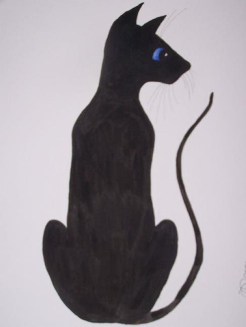 Art: 'Lucky' The Black Cat  by Artist Dawn Barker