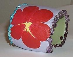 Art: EBSQ Painted Flower Bangle/ Bracelet by Artist NoRaHzArT