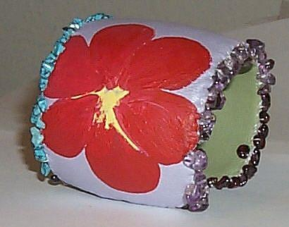 Art: EBSQ Painted Flower Bangle/ Bracelet by Artist NoRaHzArT
