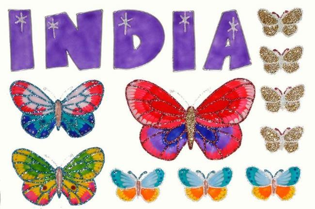 Art: India & Butterflies by Artist Jane Gould