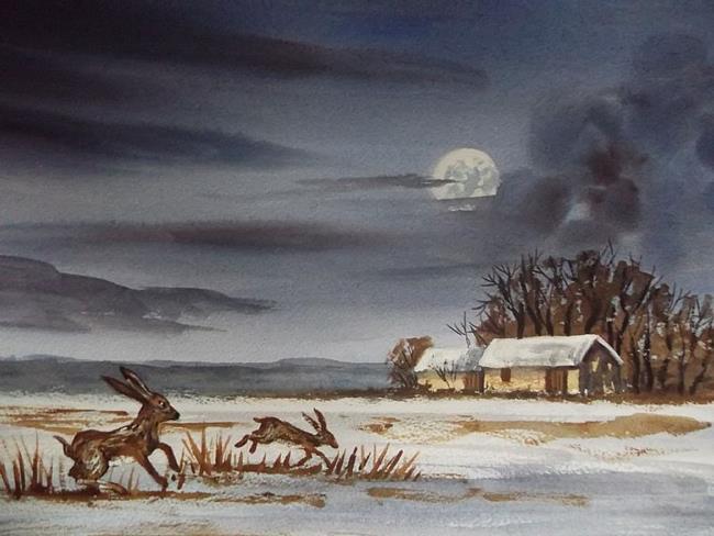 Art: Winter Hares by Artist Steve Hawthorn