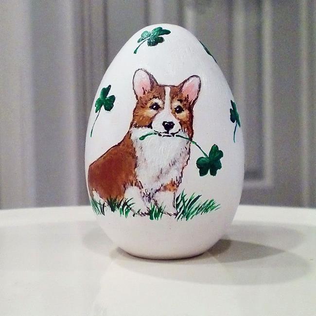 Art: Lucky St. Patrick's Day Corgi Egg by Artist Cathy Santarsiero