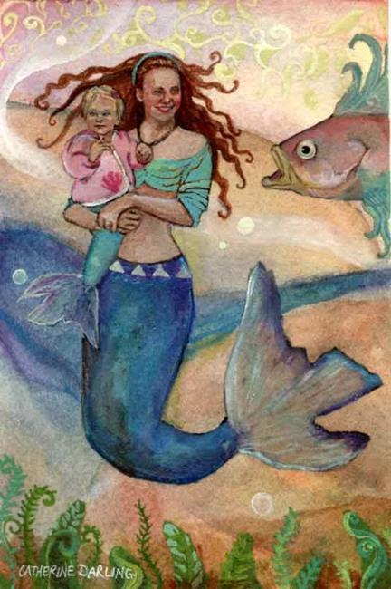 Art: Mother's Little Mermaid by Artist Catherine Darling Hostetter