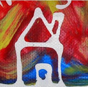 Detail Image for art Funky Psychedelic Hippy Dippy House Scene ACEO