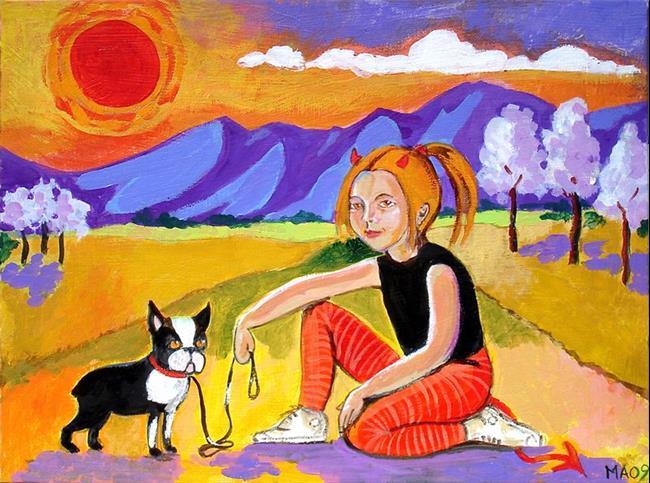 Art: Orange Devil Girl Redux by Artist Muriel Areno