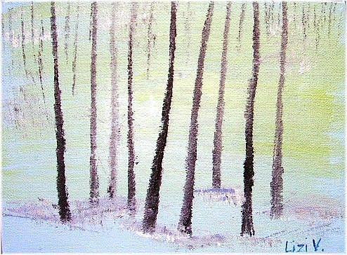 Art: TREES IN SNOW-SOLD by Artist LUIZA VIZOLI