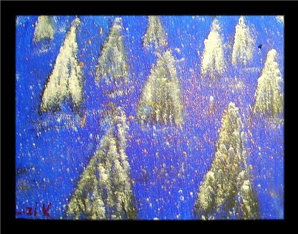 Art: LITTLE SNOWY TREES-sold by Artist LUIZA VIZOLI