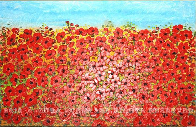 Art: Field of Red Flowers (s) by Artist Luba Lubin